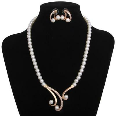 Fashion Women Crystal Diamante Pearl Pendant Necklace Earrings Jewelry Sets