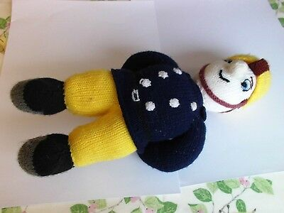 Fireman Hand knitted cuddly toy.