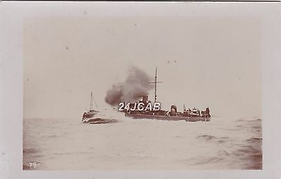 Royal Navy Real Photo Postcard. HM Torpedo Boat # 75. Sunk by HMTB #77. c 1880s