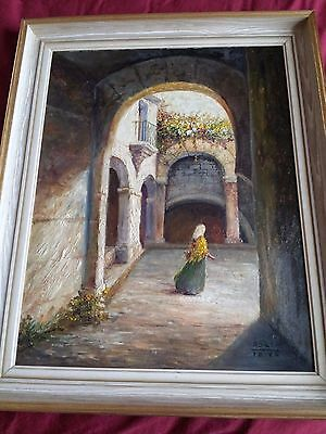 Large Original oil painting of Ibiza Old Town  by P Orti (signed), framed