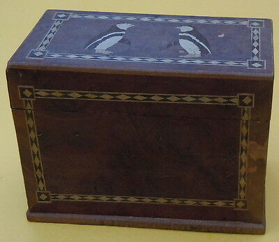 Vintage Antique Inlaid Wooden Bridge Playing Card Box With Penguins