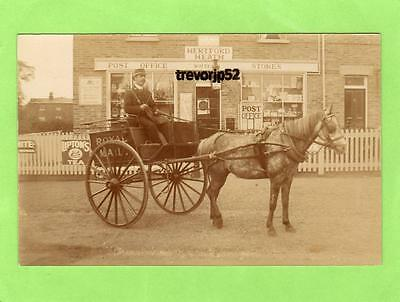 Hertford Heath Post Office Royal Mail Horse & Cart Postman Ware RP pc Ref A733