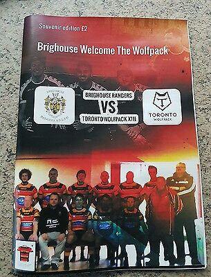 HISTORY MAKING BRIGHOUSE RANGERS v TORONTO WOLFPACK XIII RUGBY LEAGUE PROGRAMME