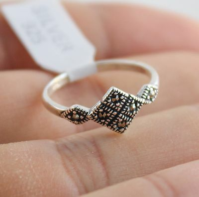 Fine Turkish Handmade 925 Sterling Silver Marcasite Lady Ring Size 6 US