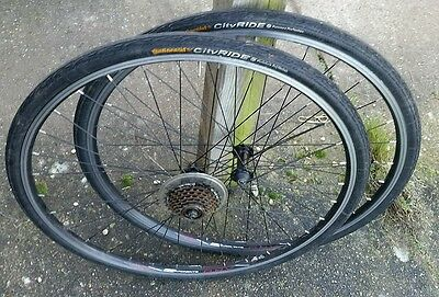 USED REAR AND FRONT 28 x 1 1/4, 700 C, ALLOY RIMS WITH TUBES AND TYRES
