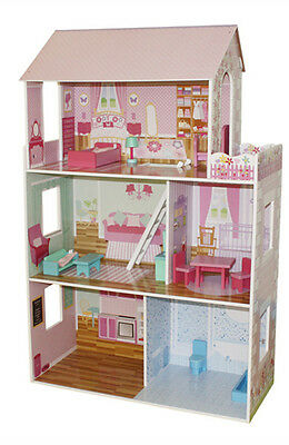 Large luxury wooden dolls house with furniture accessories