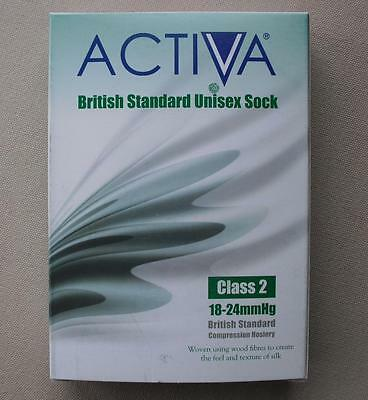 ACTIVA Class 2 Compression Hosiery / LARGE L / BLACK / UNISEX SOCK / 259-0917