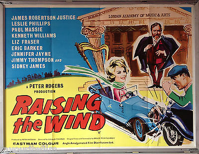 Cinema Poster: RAISING THE WIND 1961 (Quad) James Robertson Justice Sid James