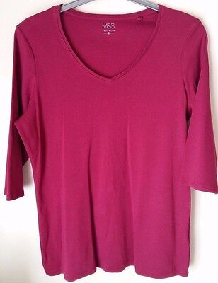 LADIES 3/4 sleeve T-SHIRT TOP size 20 Colour MAGENTA