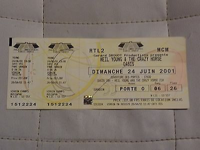 OASIS NEIL YOUNG Paris Bercy France unused complete Ticket stub 24 June 2001