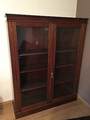 Walnut Glass Fronted Bookcase