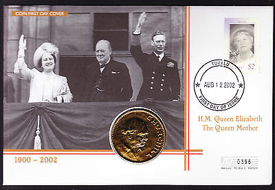 Tuvalu Queen Mother Memorial cover Churchill coin & stamp on cover Royalty FDC