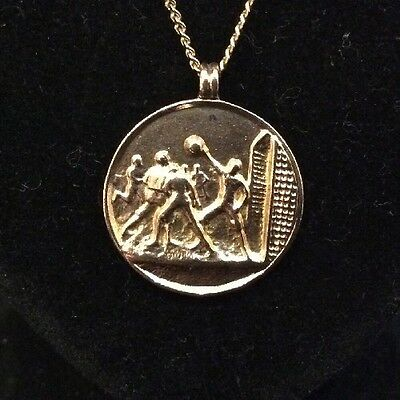 Rare WW1 1917 Navy Vs Army Football Medal Fob In 9ct Solid Rose Gold With Chain