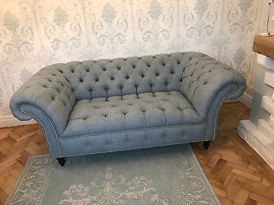 HANDMADE WOOL Chesterfield Buttoned Seat 2 Seater Sofa Available In 45 Fabric