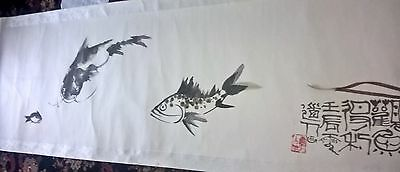 very large chinese japanese scroll painting