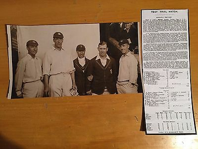 1926 England v the Rest Press Photograph 5 players test Trial Hobbs Holmes Wooll