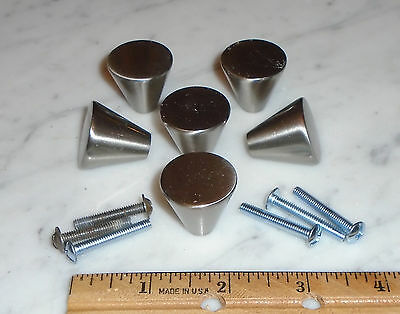 6 Hickory Hardware Satin Nickel Triangular Cone Drawer Pull Door Handle Knobs
