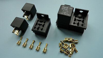 3 x 12V 30/40A 5 pin relay with holder and terminals