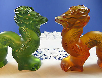 Pair Of Lalique Green & Amber Signed Crystal Glass Dragon Figurines