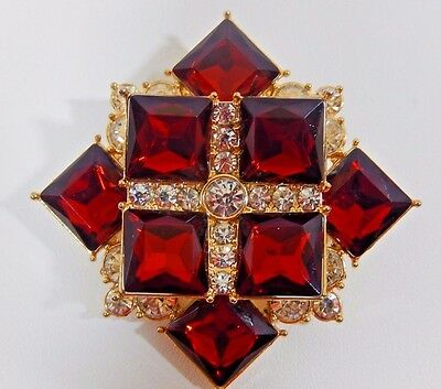 Gorgeous Maltese Cross Ruby & Icy Rhinestone 2014 Annual Collectible Brooch Pin