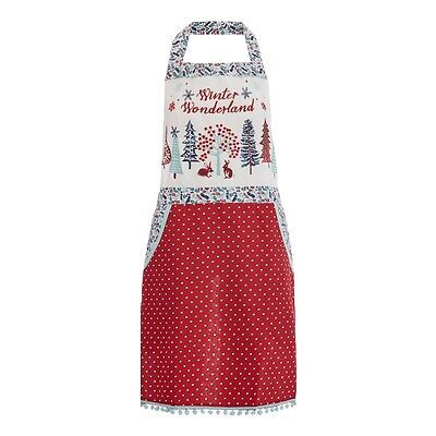 At Home with Ashley Thomas Red Christmas Print Apron Cooking Baking Gift