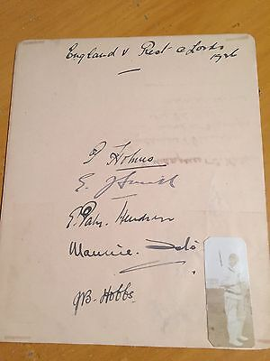 1926 Eng v Rest signed x 5 album page & photo Holmes Hobbs Tate Hendren EJ Smith
