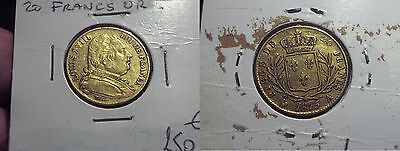 Louis Xviii 20 Francs Or 1815 Paris.