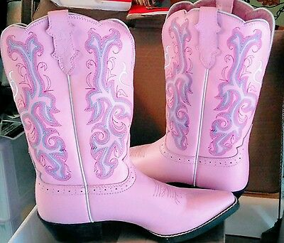 Justin Womens Pink Deercow Leather Western Boots 5 1/2 D