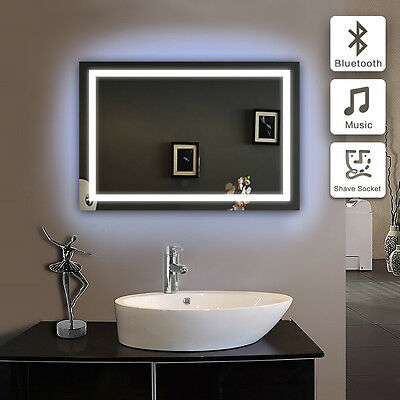 Wall Hung LED ILLUMINATED BATHROOM MIRROR with Bluetooth Speaker Sensor ID E104B