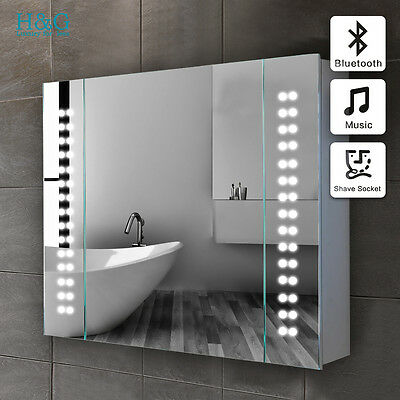 Led Illuminated Bathroom Mirror Cabinet Bluetooth Shaver Sensor Galactic Y:hg03