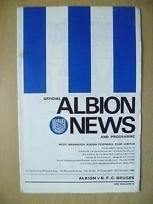 1968 European Cup Winners Cup 1st RD, 2nd Leg- Official Albion News and Program