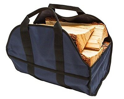 Premium Log Carrier & Wood Tote by SC Lifestyle (Navy Blue)