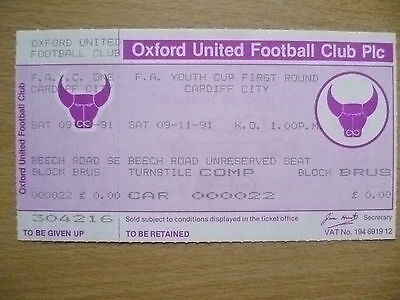 Tickets: FA Youth CUP First RD- CARDIFF CITY, 09/11/1991