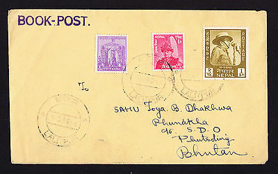 1965 Book Post cover envelope from Lalitpur District Nepal to Bhutan