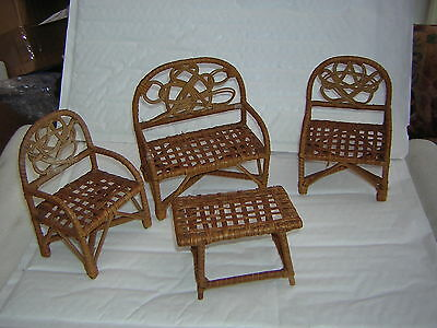 Vintage Dolls Wicker Furniture Barbie Size Consists Of 2 Chairs 1 Settee 1Table