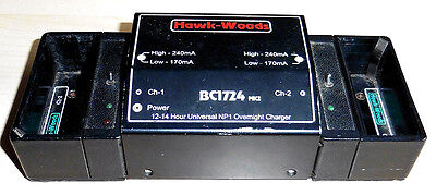 Hawk-Woods BC1724 Mk2 Two Channel Charger 2x NP1 Batteries Hawkwoods