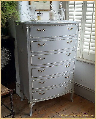 Painted Vintage French Louis XVI Style Chest of 6 Drawers Farrow & Ball