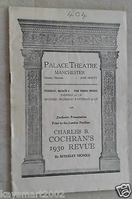 Manchester Palace Theatre Programme: CHARLES B. COCHRAN'S 1930 REVUE