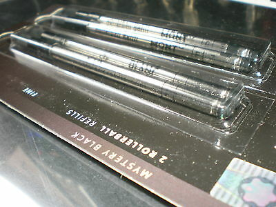 4 Montblanc Mystery Black Fine Point Rollerball Refills