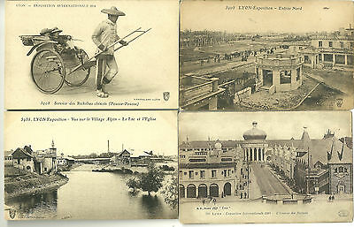 Lot de 4 CPA 69 - LYON Rhone -  EXPOSITION INTERNATIONALE 1914 - animées, lot 2