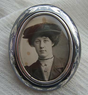 RARE Large Victorian RUSSIAN Silver Niello Ware Locket Photo Mourning Brooch