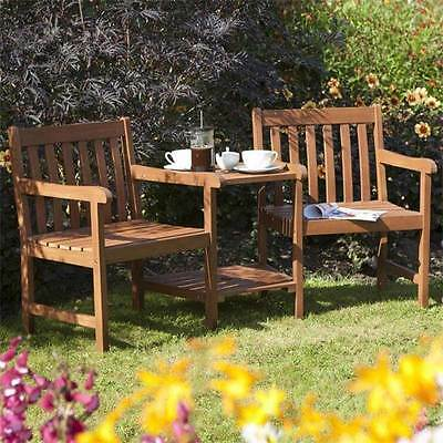 Patio Wooden Furniture Companion Seat Table with Parasol Hole & 2 Seats Garden
