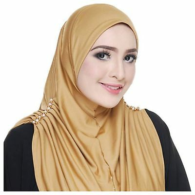 Gold Elsa Express Instant Hijab Khimar Amira One Piece Slip On Scarf Abaya