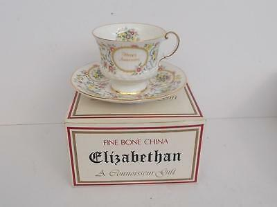 Boxed Elizabethan Fine English Bone China Connoisseur Anniversary Teacup/Saucer.