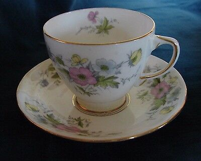 Pretty Vtg Sampson Smith Old Royal China England Pastel Flowers Cup & Saucer