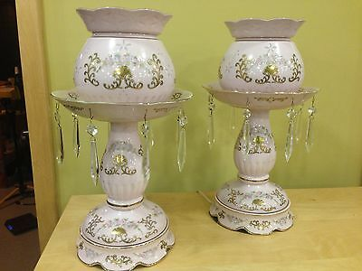 Pair Lenwile Ardalt Japan Porcelain Lamps with Crystals.