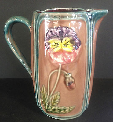 Wonderful Majolica Pansy Pitcher 7.5 Inches Tall