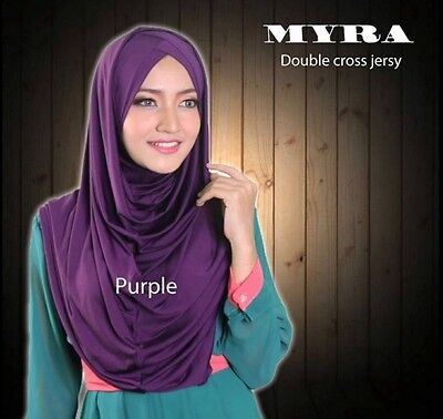 Dark Purple Double Cross Hoodie Hijab Khimar Amira One Piece Slip On Scarf Abaya