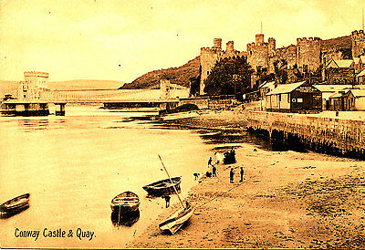 CAERNARVONSHIRE : Pre 1918 postcard of Conway Castle & Quay ( Steamer jetty)