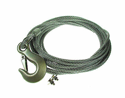 Steel Winch Cable -2400Kg- Snap Hook- 6mm x 8m (26ft) and Fixing Kit -  MP1450